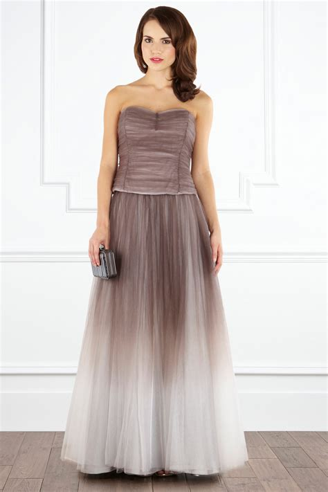 coast amiana tulle maxi skirt in brown lyst
