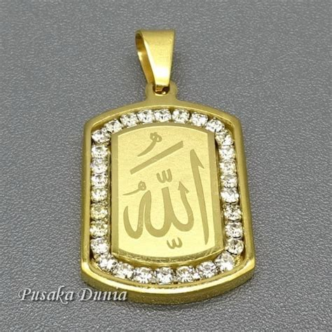 Kalung Allah Perhiasan liontin kalung lafadz allah lapis emas pusaka dunia