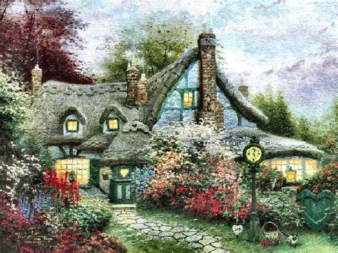 kinkade cottage painting kinkade paintings cottage www pixshark