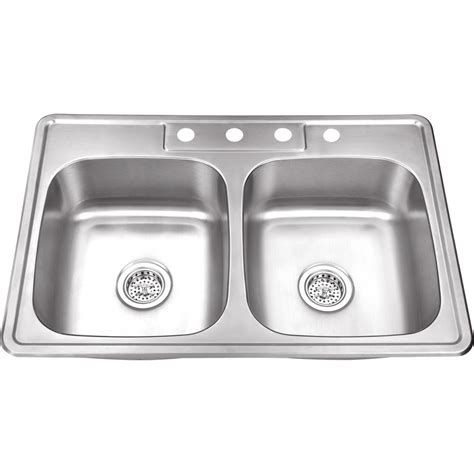 kitchen double sink ipt sink company drop in 33 in 4 hole stainless steel
