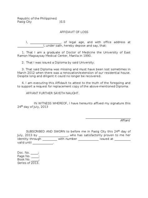 template of an affidavit affidavit word template masir