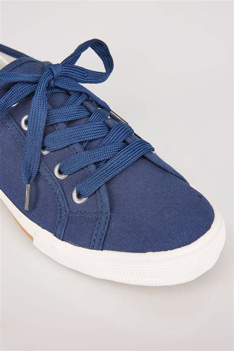 too old to buy a house navy lace up gumsole canvas trainers in eee fit size 4 9