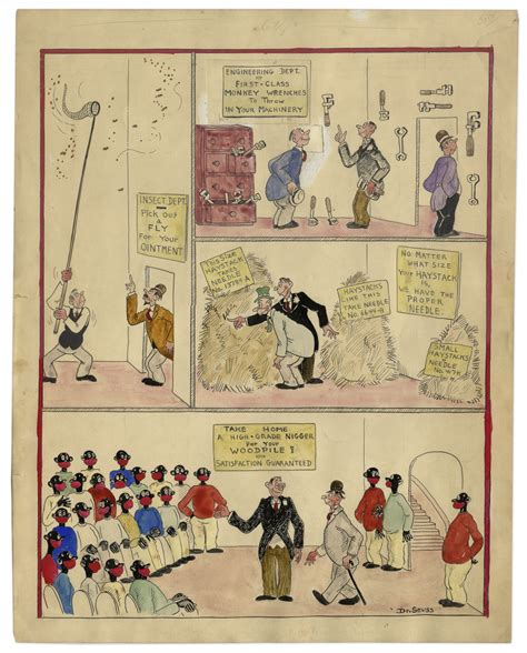 cross section of the world early racist dr seuss drawing at auction for 20 000
