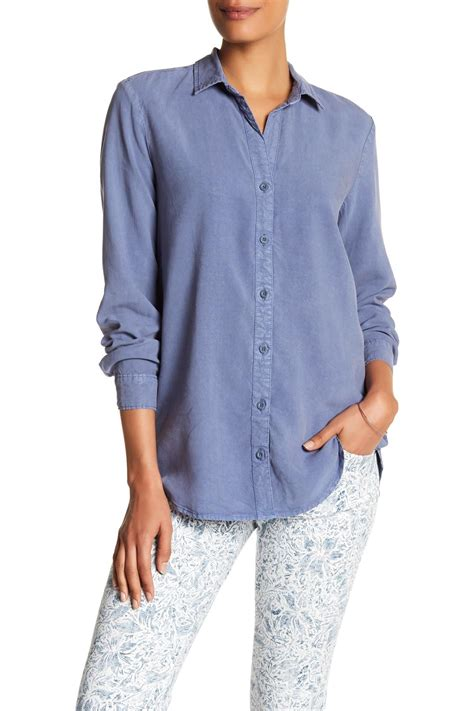 Sleeve Side Button Shirt andrea jovine sleeve side button shirt in blue lyst