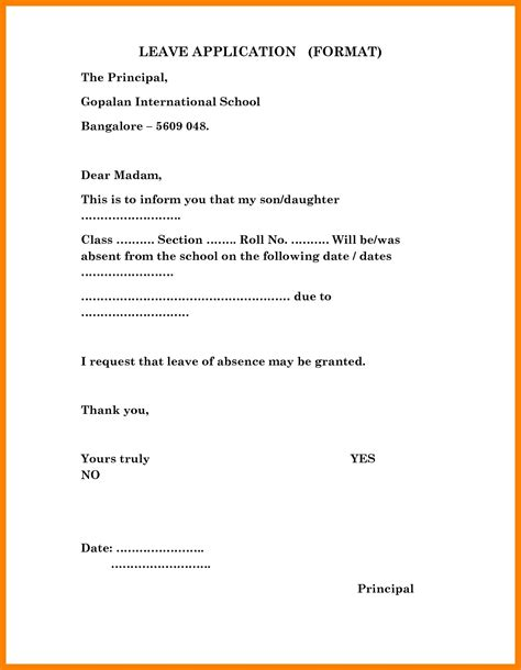 School Admission Request Letter To Principal letter format to the principal copy letter format leave