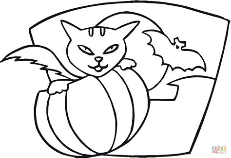 bats and pumpkins coloring pages pumpkin cat and bat coloring page free printable