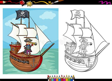 pirate on ship coloring book stock vector image