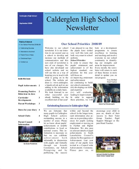 sample school newsletters ms word psd