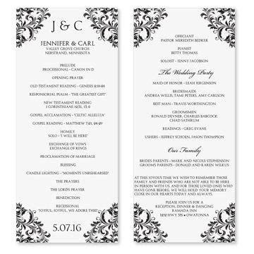 Wedding Program Template Download Instantly Edit Your Wording Nadine Black Tea Length 4 Page Wedding Program Template