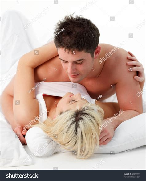 lying on bed portrait romantic couple lying on bed stock photo 33798961 shutterstock