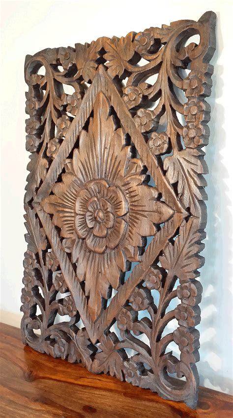 carved teak wood waxed floral wall panel