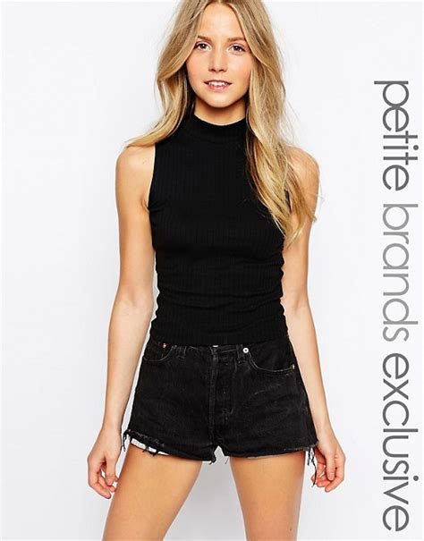 Black Sleeveless High Neck Blouse by New Look New Look Rib High Neck Sleeveless Top