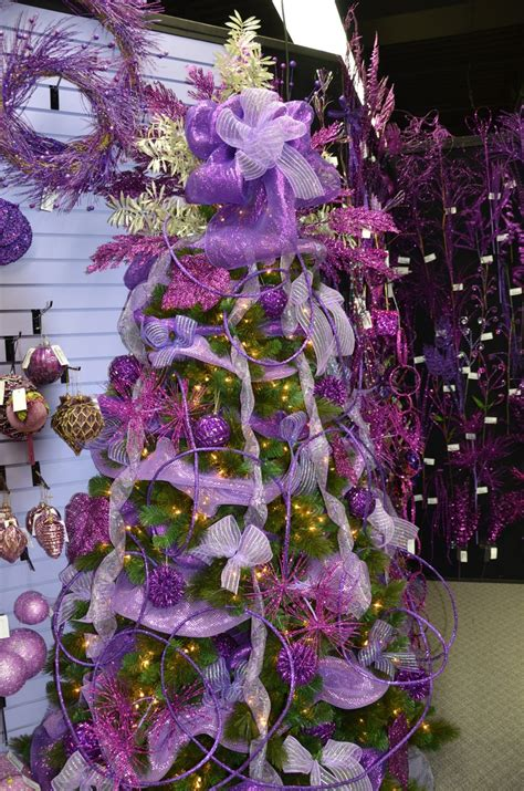 christmas tree decorated with purple purple rocks