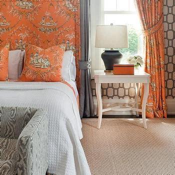 orange curtains for bedroom fuschia velvet bed with faux bois throw blanket