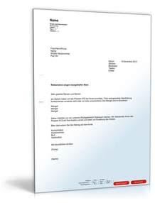 Beschwerdebrief Garantie Reklamationsschreiben Defekte Ware Eckventil Waschmaschine