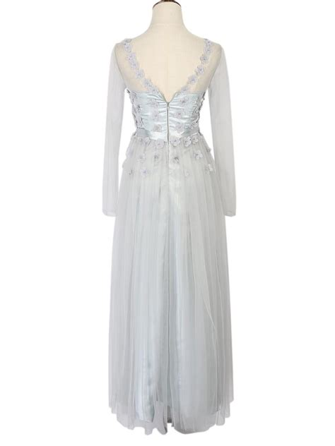 Lace Panel Tulle Dress in stock gray sheer mash lace panel sleeve