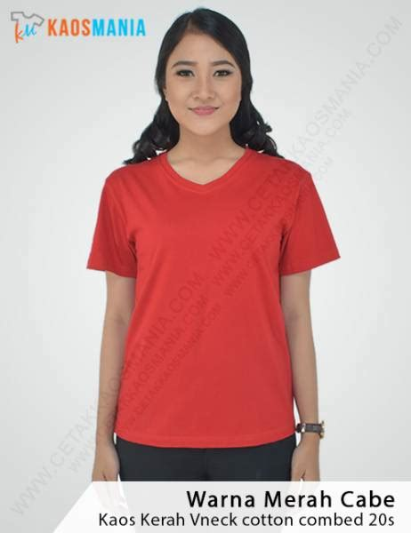 Kaos Polos O Neck Warna Merah Cabe Ukuran Xl Cotton Combed 20s kaos v neck polos grosir murah bahan cotton combat 20s