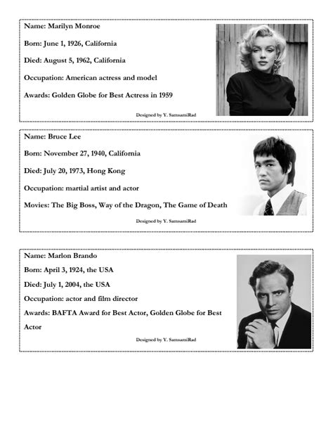exercise about biography 257 free celebrities biographies worksheets