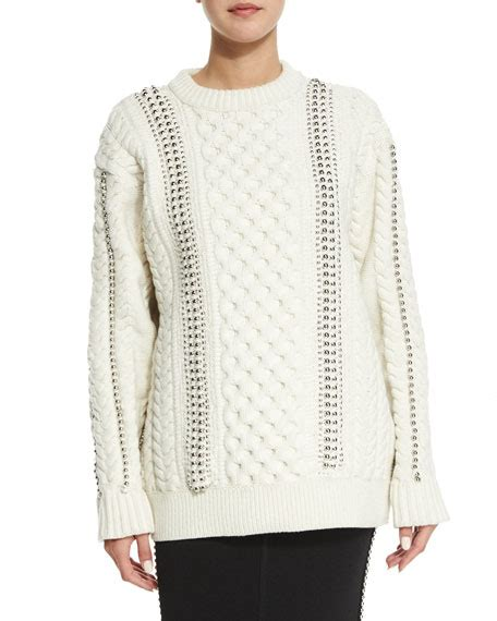 ivory cable knit sweater wang embellished cable knit sweater ivory