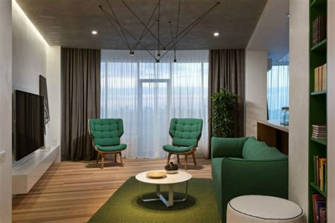 Bright Green Living Room Minimal Apartment In Kiev Has A Lot To Show
