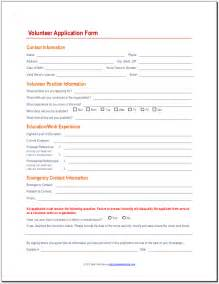 volunteer application template application form volunteer application form template