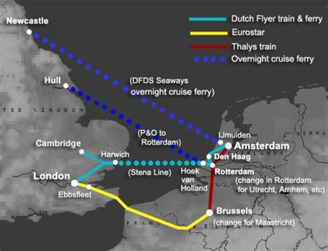 map uk to amsterdam to amsterdam by ferry or eurostar from 163 49 99