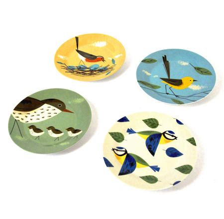 Set Biry birdy set of 4 plates 7 5 quot by magpie pink cat shop