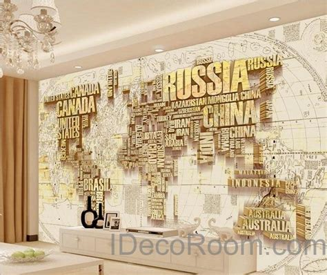 The Home Decor Company abstract world map nation 3d wallpaper wall decals wall