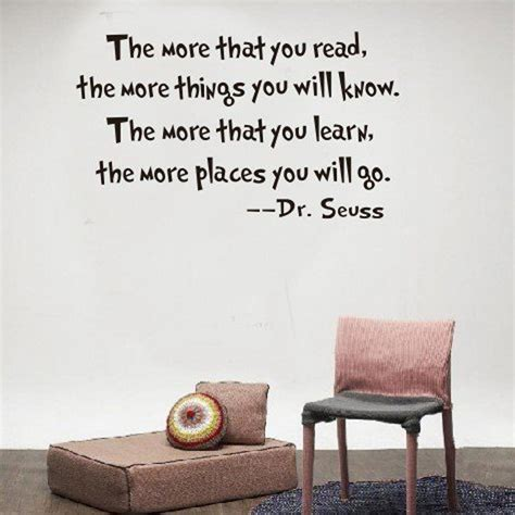 Quotes For Home Decor Inspirational Dr Seuss Quotes Wall Stickers Removable Decal Home Decor The More That You Read