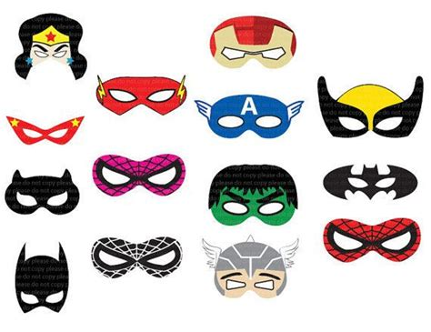 hero pattern cut you out instant dl superhero masks cut out birthday party
