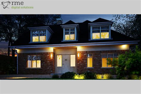 Dormer Ie 3d Rendering Of House Exterior Night Shot Rme Home