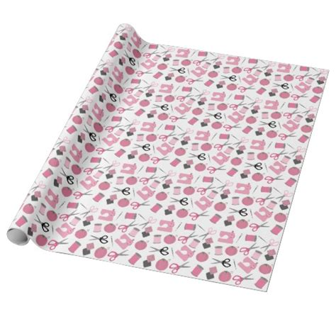 pink pattern themes pink sewing theme pattern wrapping paper zazzle