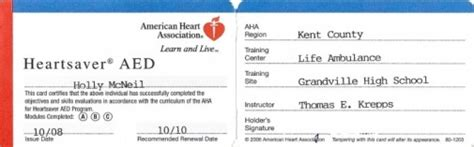 American Association Heartsaver Cpr Card Template by Cpi Cpr Trained Mcneil S Teaching Portfolio