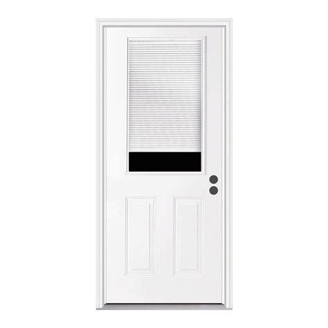 28x80 Exterior Door Jeld Wen 36 In X 80 In 1 2 Lite Primed Steel Prehung Left Inswing Front Door W Brickmould