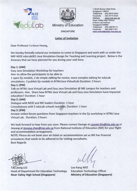 Invitation Letter Professor Open Source Physics Singapore Edulab 003 Java Simulation Design For Teaching And Learning