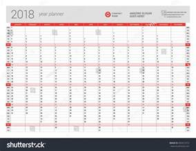 Calendar 2018 Year Planner Yearly Wall Calendar Planner Template 2018 Stock Vector