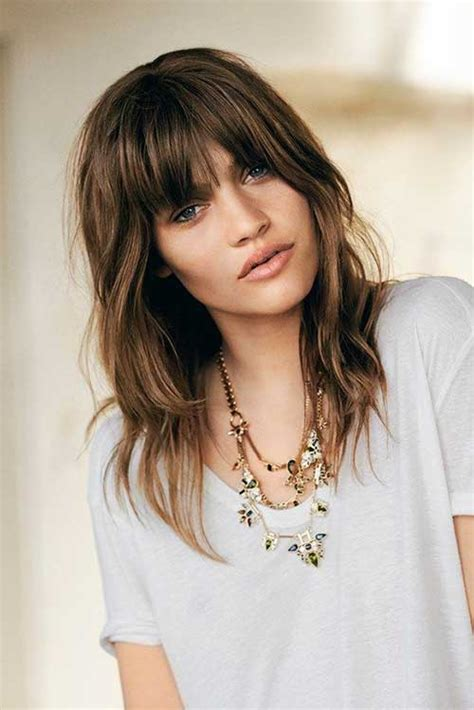 very long shaggy hairstyle with side swept bangs for a pear shape face 15 shaggy layered haircuts long hairstyles 2016 2017