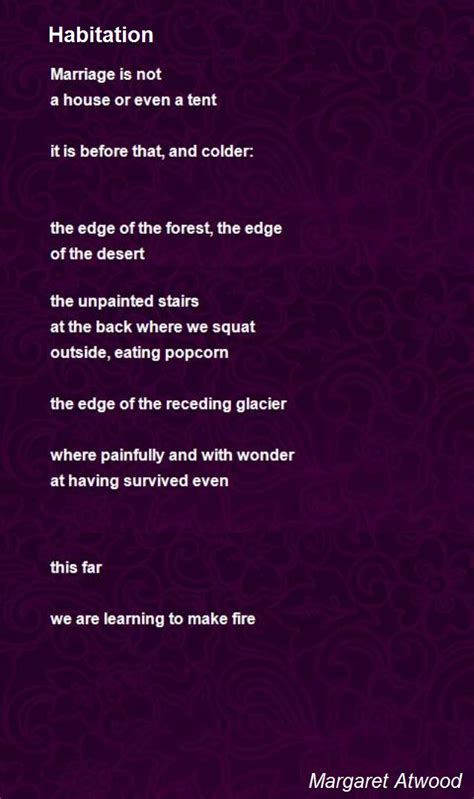 habitation poem  margaret atwood poem hunter