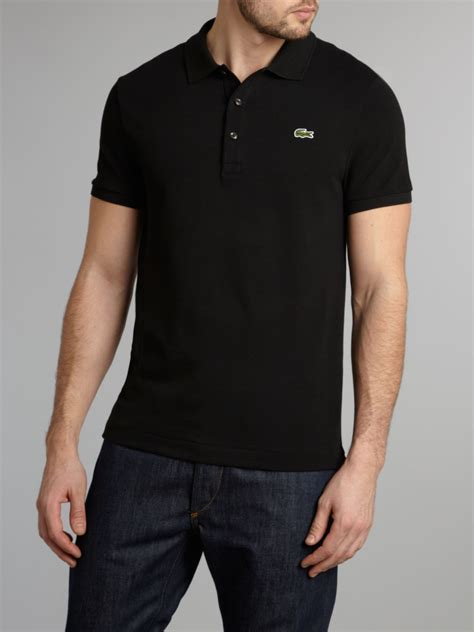 Polo Shirt Lacost Tosca List Black lyst lacoste classic slim fitted polo shirt in black for