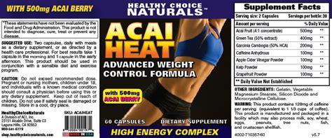 supplement heat acai weight formula acai heat weight