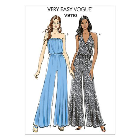 pattern making of jumpsuit buy vogue very easy women s jumpsuit sewing pattern 9116