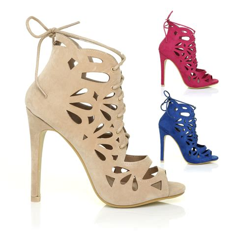 lace up peep toe caged laser cut out stiletto high heel sandal shoes size ebay