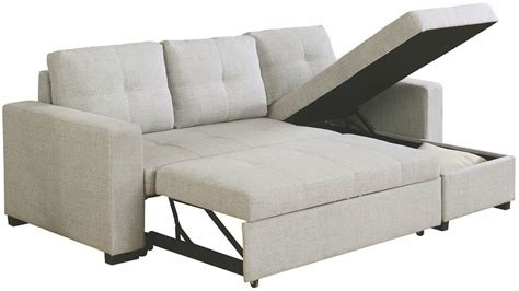 Multi Use Sofa by Everly Beige Linen Multi Functional Sleeper Sectional Sofa