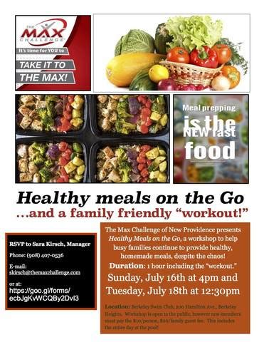healthy meals on the go workshop tapinto