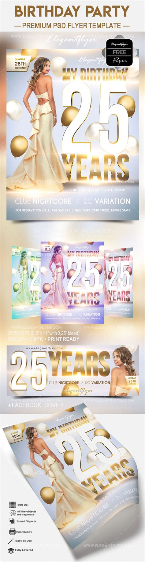 Free Birthday Party 2017 Flyer Psd Template Facebook Cover By Elegantflyer Free Birthday Flyer Templates