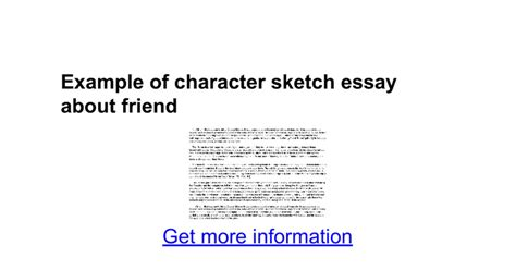 character sketch essay sle exle of character sketch essay about friend docs