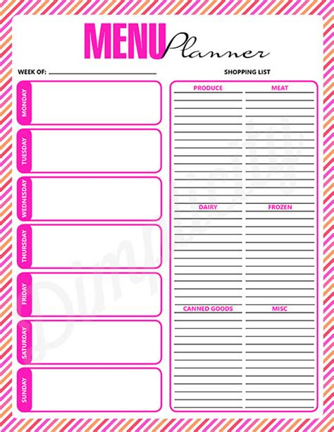 weekly menu planner printable digital download pink by