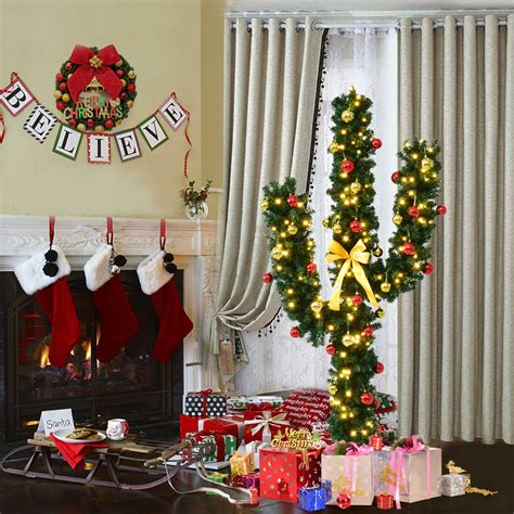 artificial cactus christmas tree costway costway 5ft pre lit artificial cactus tree w led lights and ornaments