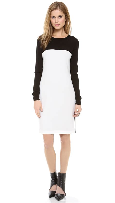 Color Block Sleeve White Dress dkny colorblock sleeve dress in white black white