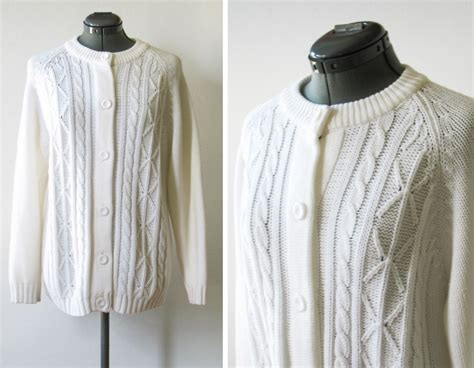 vintage 70s white cable knit cardigan sweater by